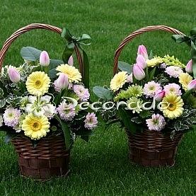 Róż i zieleń z żółtymi akcentami gerbery
