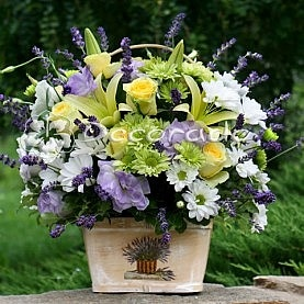 Lawendowy kosz kwiatów