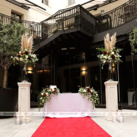 Dekoracja ślubna ceremonii – patio restauracji Młyńska 12