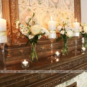 Świece, szkło, kwiaty – dekoracja Pałacu Biedrusko