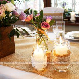 Dekoracja ślubna sali – romantyczny styl vintage – Gościniec Marzymięta