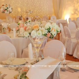 Dekoracja ślubna w brzoskwiniowych barwach – Pałac Wąsowo
