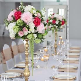 Malinowe i różowe piwonie z dodatkiem bieli i zieleni – Pałac Jaśminowy