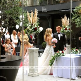 Ślub plenerowy – dekoracja z trawą pampasową – Młyńska 12