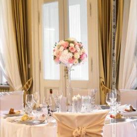 Dekoracja ślubna w różu Pałac Biedrusko