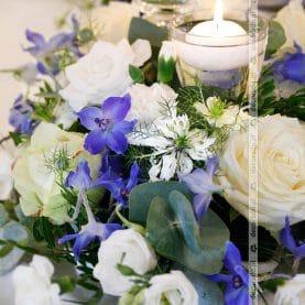 Dekoracja sali w kolorze niebieskim